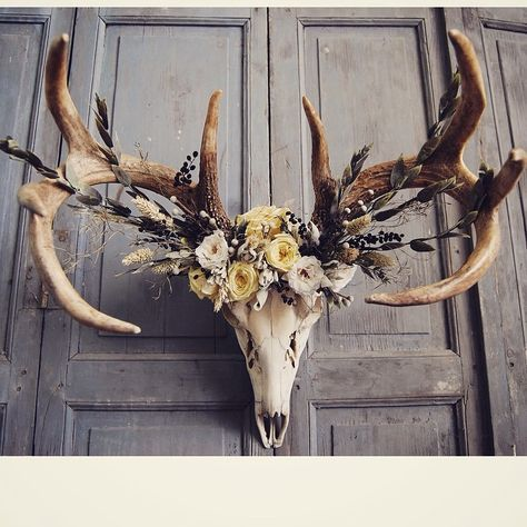 Deer skull with preserved floral crown in shades of buttercream, white, sage, wheat, silver, & navy. Materials have been professionally preserved, leaving them soft and supple, just as when they were living, with no wilting or fading. They last for many years with little to no maintenance (a little dusting from time to time) This deer lost its life during the droughts in west Texas 2 years ago. I do my best to honor the lives of the animals' bones that I use when I incorporate them into one…