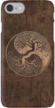Rough Wood Grain Effect Tree of Life Yin Yang iPhone 7 Cases