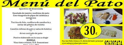 GASTRONOMÍA EN ZARAGOZA: Menú del Pato en el Restaurante Antonio