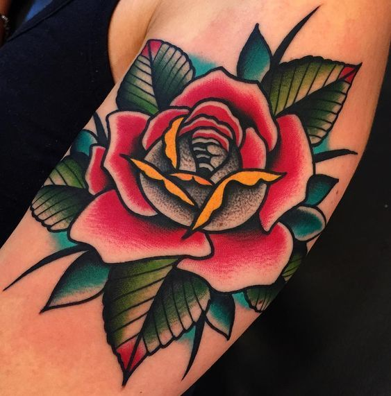 Traditional Rose Tattoo: 40 Ideas for Classic Tattoos and Flower Lovers … – Tattoo Ideas – # Flower Lovers # for # Ideas #Classic