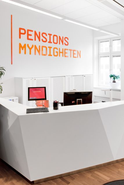 #pensionsmyndigheten #kontor #skofabriken #hornstull #stockholm #reception #inredning #design #orange #office #SwedishPensionsAgency #Interior #design