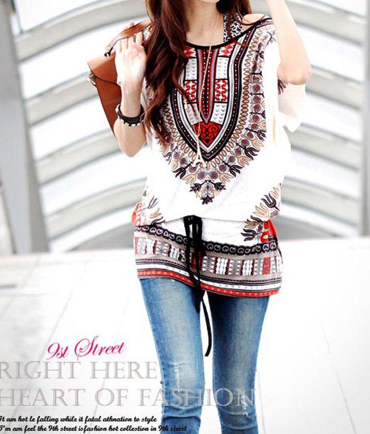 summer style Women Bohemia Batwing Print Loose shirt peasant Blouse Top pluse size(China (
