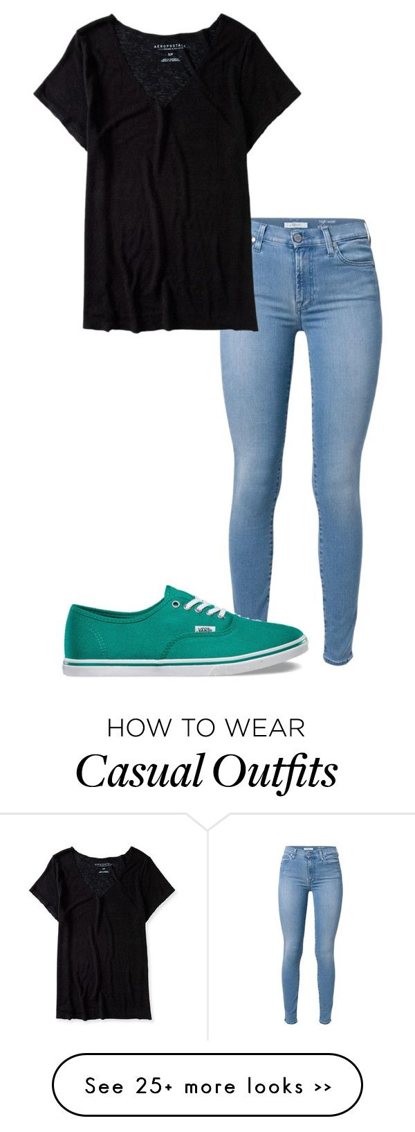 ||Casual day|| by ericavermillion on Polyvore featuring 7 For All Mankind, Aéropostale and Vans