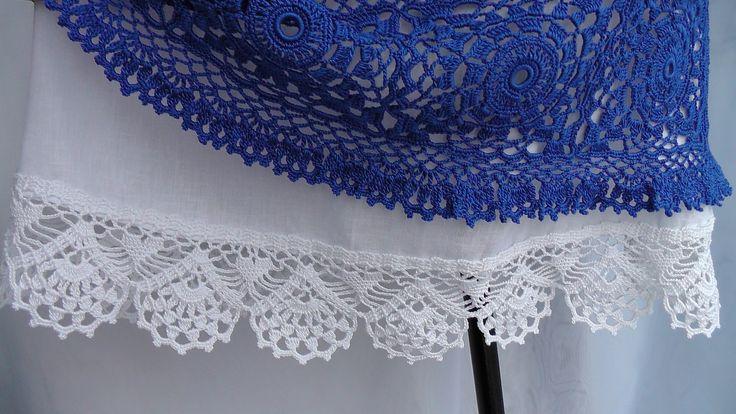 Обвязка кружевной каймой юбки из ткани. КАЙМА крючком. Схема вязания.