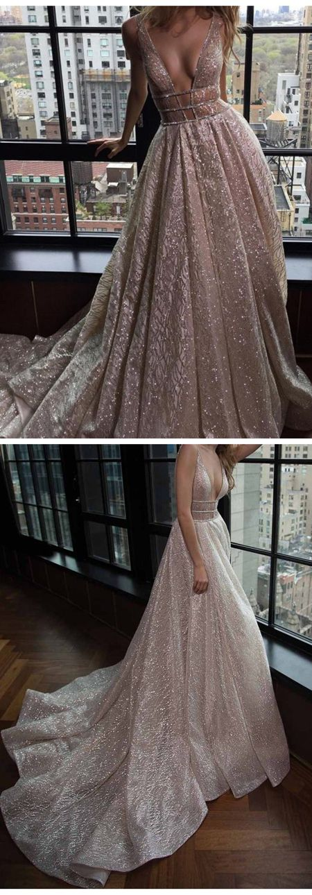 A-Line Deep V-Neck Court Train Pink Prom Dress Backless with Sequins