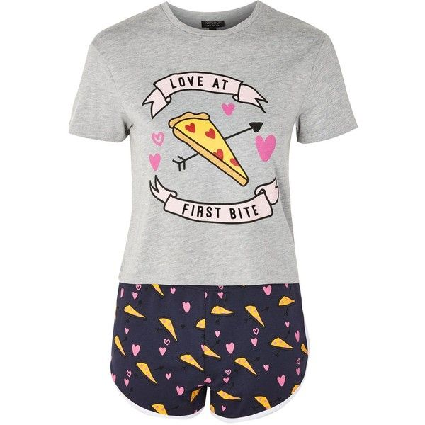 TopShop Love at First Bite Pizza Pyjama Set ($40) ❤ liked on Polyvore featuring intimates, sleepwear, pajamas, pijamas, grey, topshop pyjamas, topshop pjs, short sleeve pajama set and short sleeve pajamas