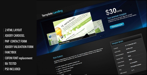 Template or item landing page