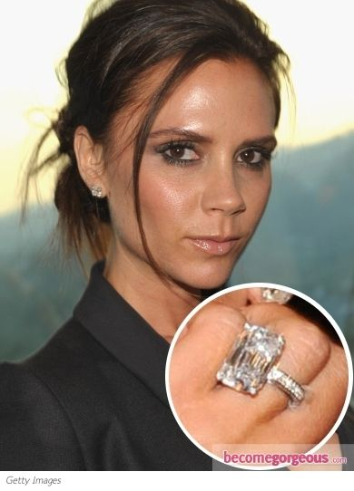 Victoria Beckham with this 19 carat, emerald cut engagement ring stunner!
