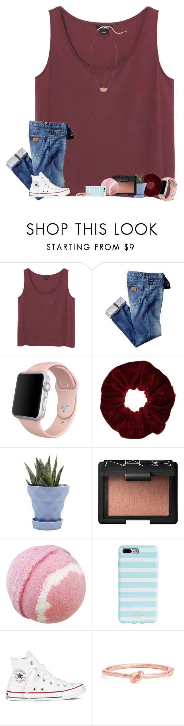 """•rain rain go away•"" by mackenzielacy814 on Polyvore featuring Monki, Apple, Miss Selfridge, Chive, NARS Cosmetics, Kate Spade, Converse and Kendra Scott"