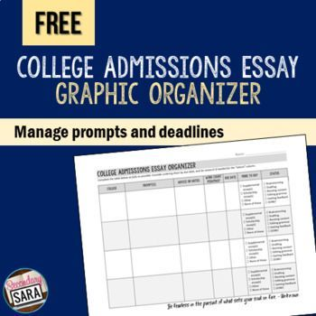 FREE graphic organizer to manage college admissions essay prompts, deadlines, word counts, and more!