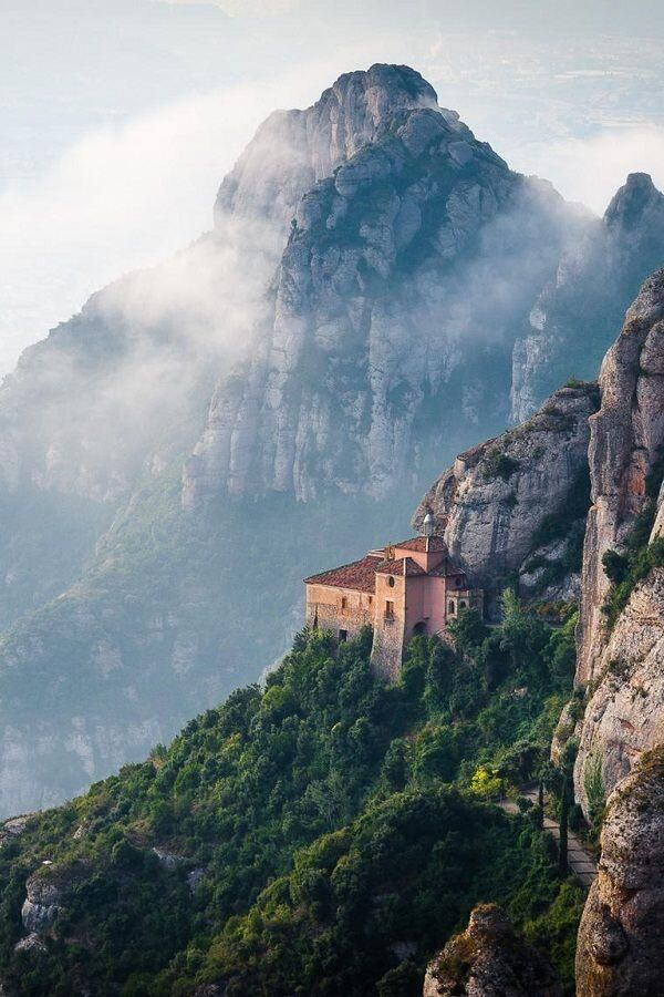 Monserrat, Barcelona, Spain- I want to visit here to see the landscape and the people green vegetation