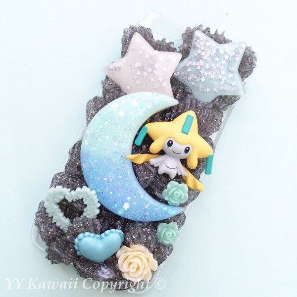 Custom Kawaii Pokemon jirachi pocket monsters inspired Decoden... ($25) ❤ liked on Polyvore featuring accessories y tech accessories http://amzn.to/2ttYxpw