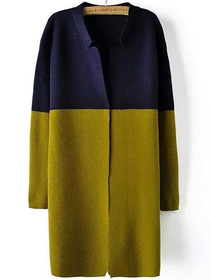 Hmm, maybe a little color this winter. Colour-block Stand Collar Loose Sweater Coat Material: Acrylic