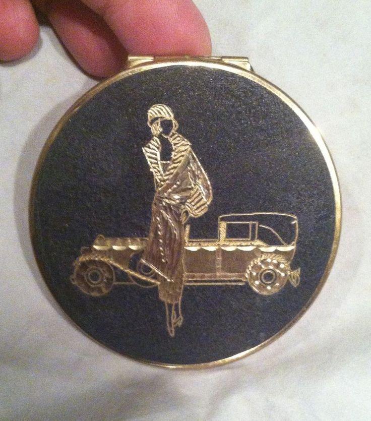 Vintage Art Deco Stratton Gold & Black Compact Flapper & Automobile Themed
