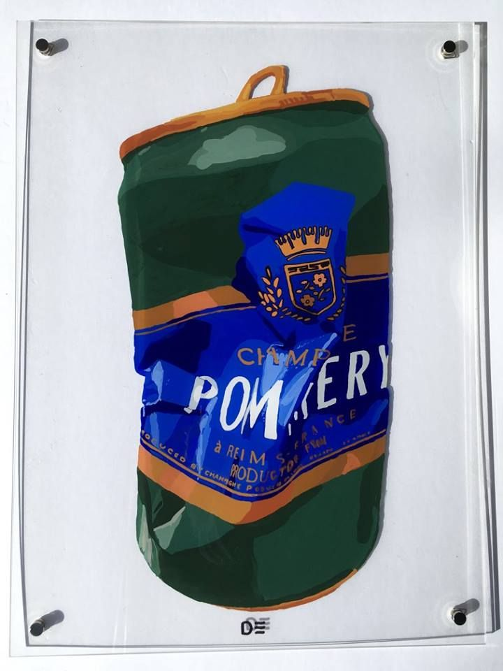 """Original Painting of a """"crushed"""" Pommery champagne can Acrylic on Plexi 23 by 17 inches available now"""