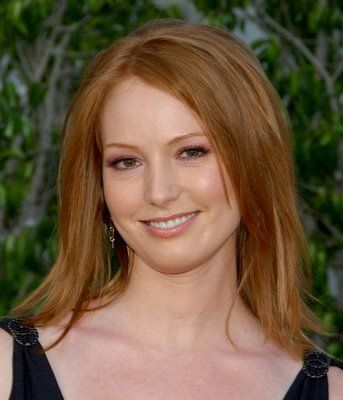Alicia Witt wears a natural-looking dark strawberry blonde here                                                                                                                                                                                 More