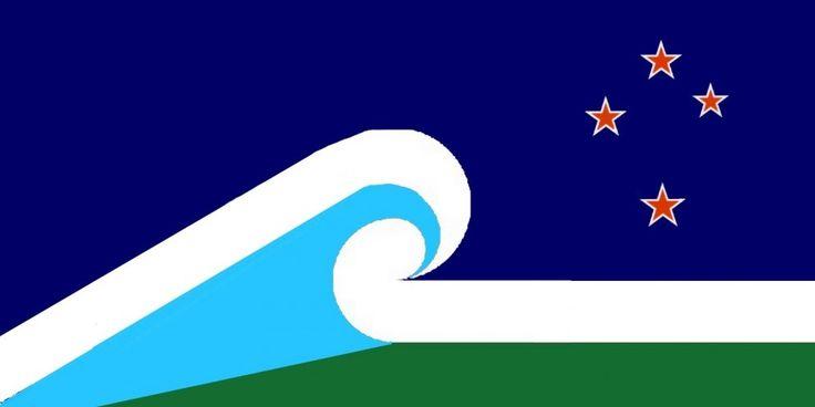 Aotearoa into the future by Astrid van Meeuwen-Dijkgraaf, tagged with: blue, green, red, white, koru, Southern Cross, landscape, Māori culture.