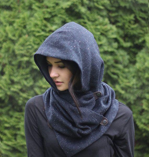 Blue Wool Tweed Snood, unique handmade eco urban style, hoodie scarf on Etsy, $89.00