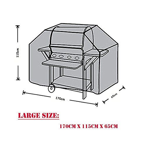 BBQ Cover Waterproof Large Heavy Duty Barbecue Cover Garden Patio Outdoor 170x65x115cm (L*W*H) Outback proof Weber Gas Grill 3 Burners Cover Black for BBQ