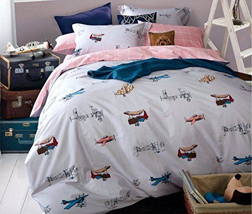 vintage airplanes boys bedding full queen duvet cover set cotton grey blue red gray helicopter flying plane world travel decor bedroom