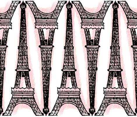 Paris ~ Eiffel For You ~ Black and Pink and White Chalk fabric by peacoquettedesigns on Spoonflower - custom fabric