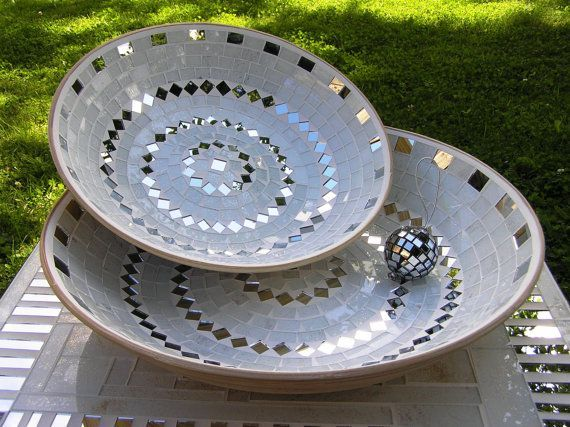 White tile & mirror mosaic bowls