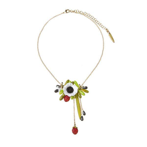 Collana fiori di papavero e fragole swarovski - La Hormiga