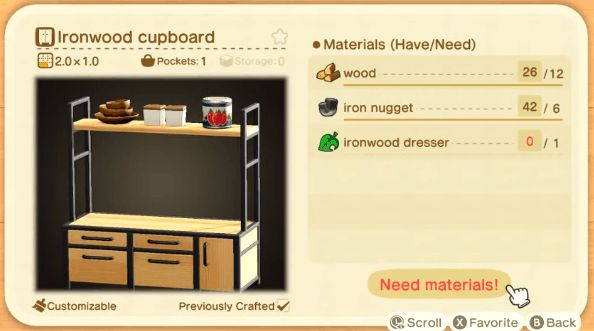 Ironwood Furniture Recipes in Animal Crossing New Horizons ... on Ironwood Dresser Animal Crossing  id=90916