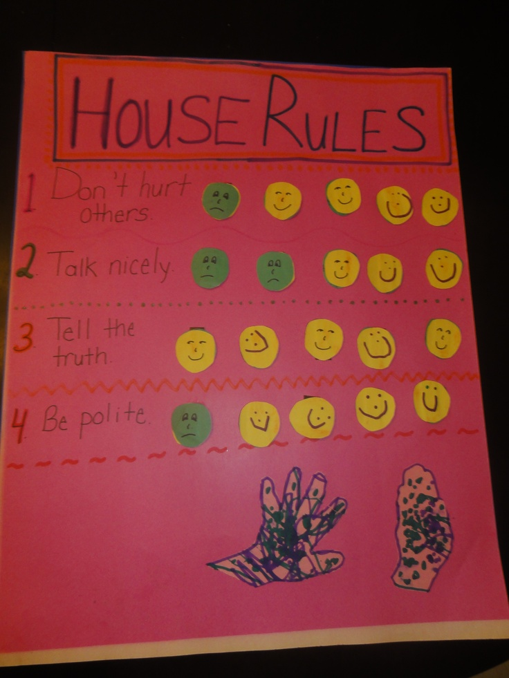 """Tonight we made a """"House Rules"""" board. Every time she breaks a rule, the happy face becomes a sad one (they are just magnets). Before bed time we count how many smiley faces are left, which determines how many chocolate chips she gets and/or how many books she gets for bed time. If she has no sad faces that day, she can stay up late for a family movie night. Credit for the idea belongs to this book: www.pantley.co..."""