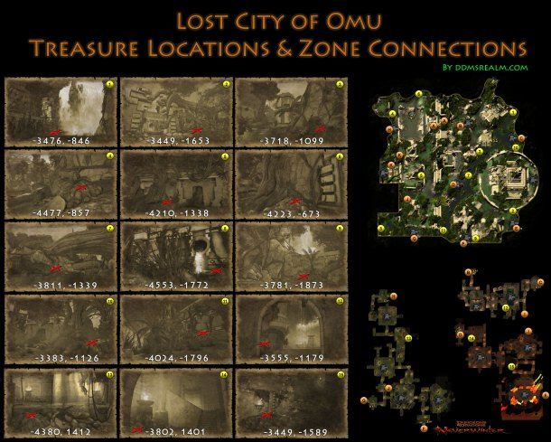 Neverwinter Lost City of Omu Area Map of Treasure Locations