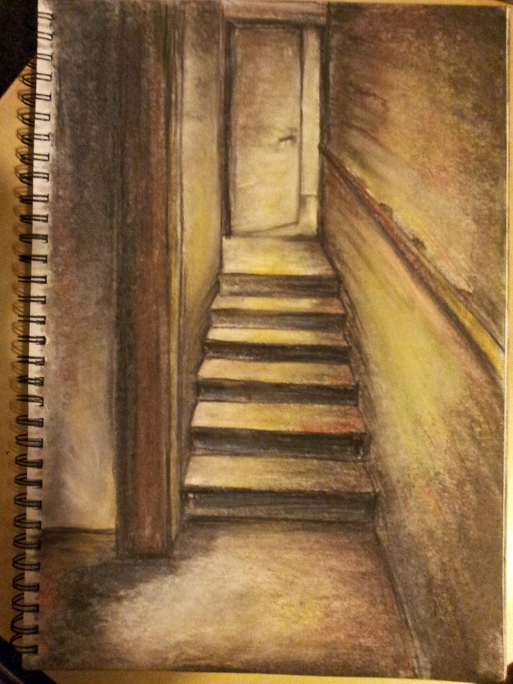 Stairway to home. #Charcoal #SoftPastels #Sketch