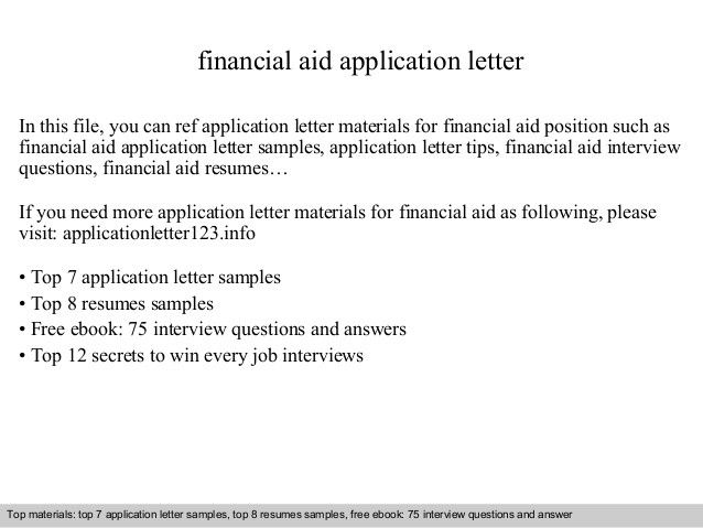 Financial Assistance Letter Sample Unique Financial Aid Application Letter Cover Letter For Resume Application Letters Application Letter Sample