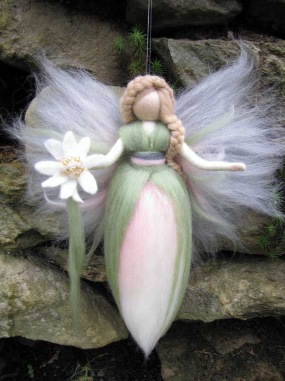 Waldorf inspired fairy doll, wool, Edelweiss