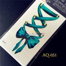 Горячая Хороший 3D Боди-Арт Рукава Рука Рука Водонепроницаемый Наклейки Временные Татуировки AQ-051 цветные Бантом Луки дизайн фальшивый Блеск татуировки(China (Mainland))