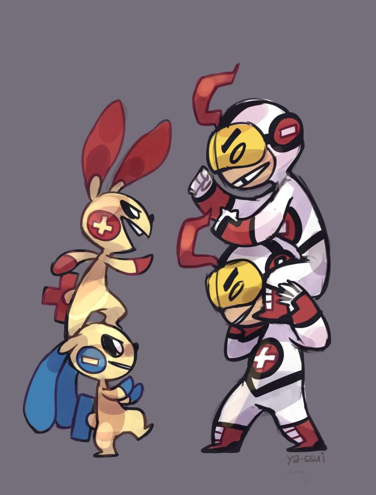Plusle, Minun, and Mas y Menos - Teen Titans and Pokemon crossover