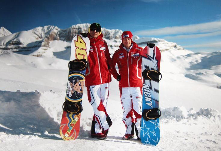 Valentino Rossi and Nicky Hayden on the slopes of Madonna di Campiglio for Wrooom F1 & MotoGp Press Ski Meeting www.campigliowrooom.it