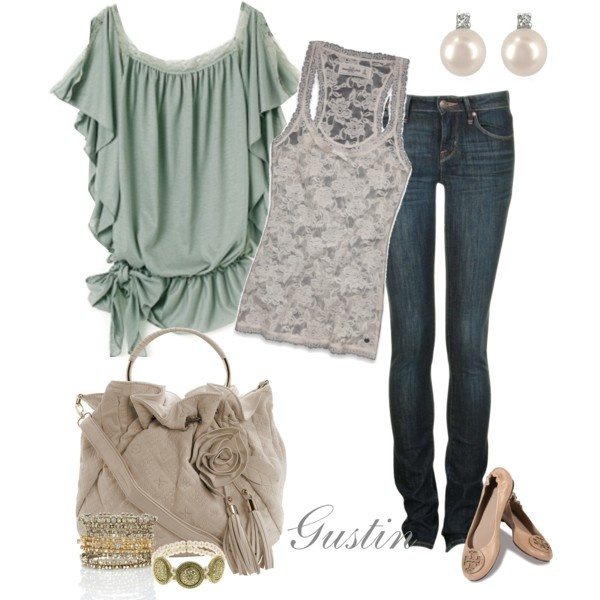 soft hues: Skinny Jeans, Shirts, Green, Soft Color, Soft Hue, Fall Fashion, Date Outfit, Lace Tanks, Vintage Style