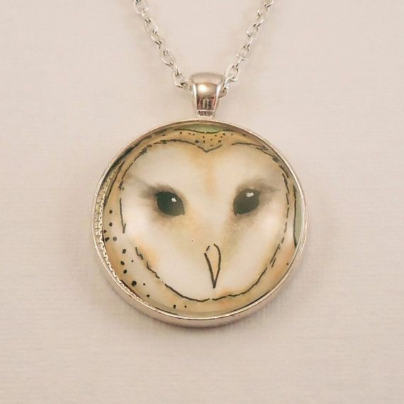 White Barn Owl Necklace  Owl Jewelry  Christmas by cellsdividing, $36.00