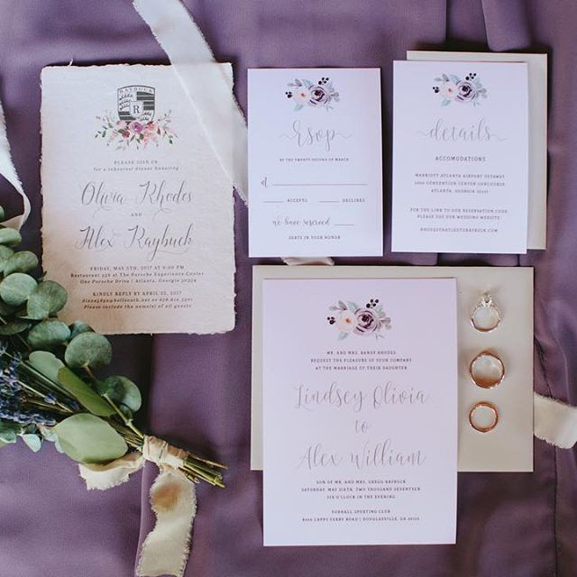 Floral Purple / Lilac Wedding Invitation Suite, Garden Wedding Invitation Suite, Crest Wedding Invites, Floral Invitation from The Brumby Nest