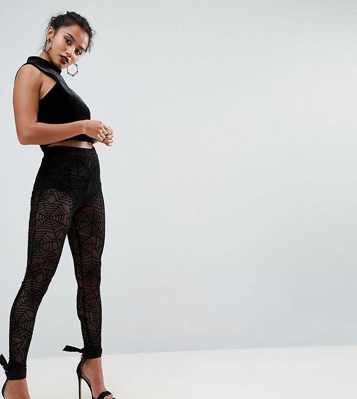 ASOS PETITE HALLOWEEN Leggings in Cobweb Mesh - Black