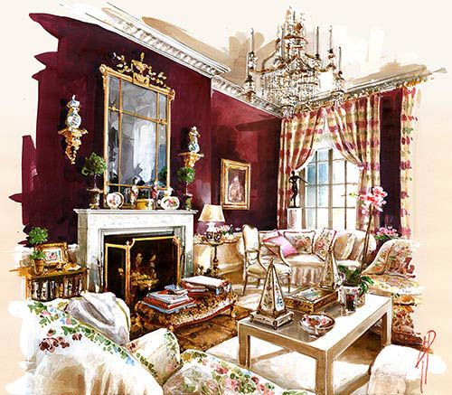 Interior watercolor painting classic 1 pinterest for Einrichtung interior