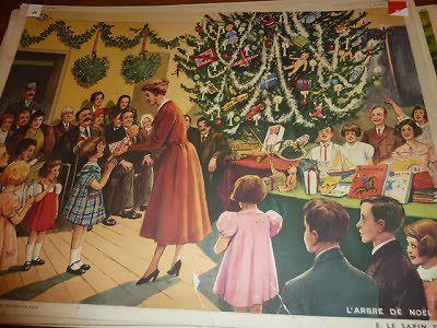 Ancienne carte scolaire Rossignol 1960 SAPIN de NOEL cadeau jeux enfant famille
