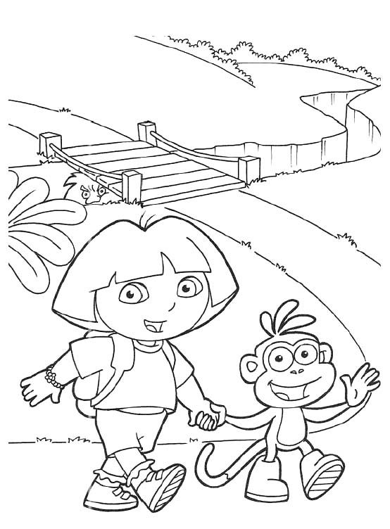 dora map coloring page - dora and boots want to walk across the bridge coloring