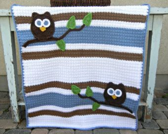 Owl Baby Blanket Blue White Boy Baby Shower Gift by abbycove