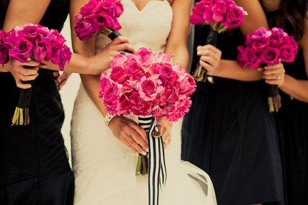Wedding, White, Pink, Black, Bouquet, Bridesmaid, Ribbon, Lauren mike, Grosgrain