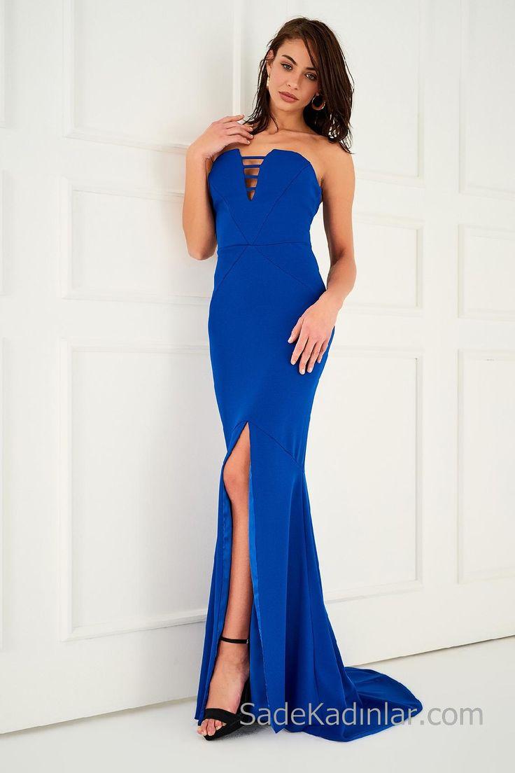 2018 Abiye Elbiseler Saks Mavi Uzun Sırt Dekolteli Yırtmaçlı