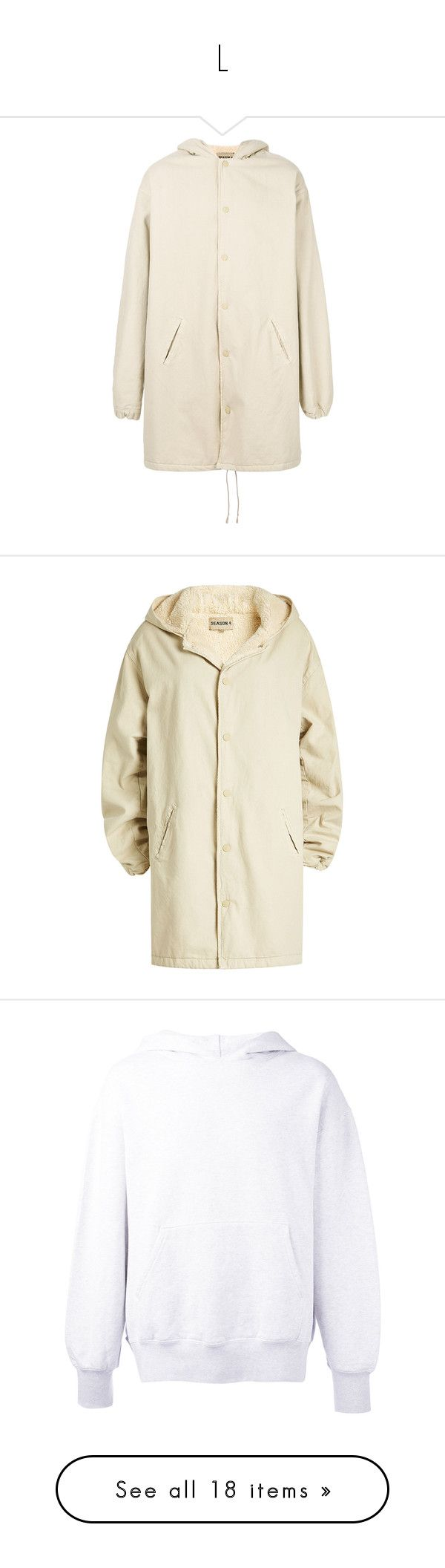 """""""L"""" by lalremsang ❤ liked on Polyvore featuring outerwear, jackets, coach jacket, hooded jacket, beige, oversized hooded jacket, oversized parka jacket, cotton hooded jacket, beige jacket and oversized jacket"""