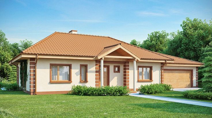 Parterowy dom w stylu tradycyjnym z kopertowym dachem
