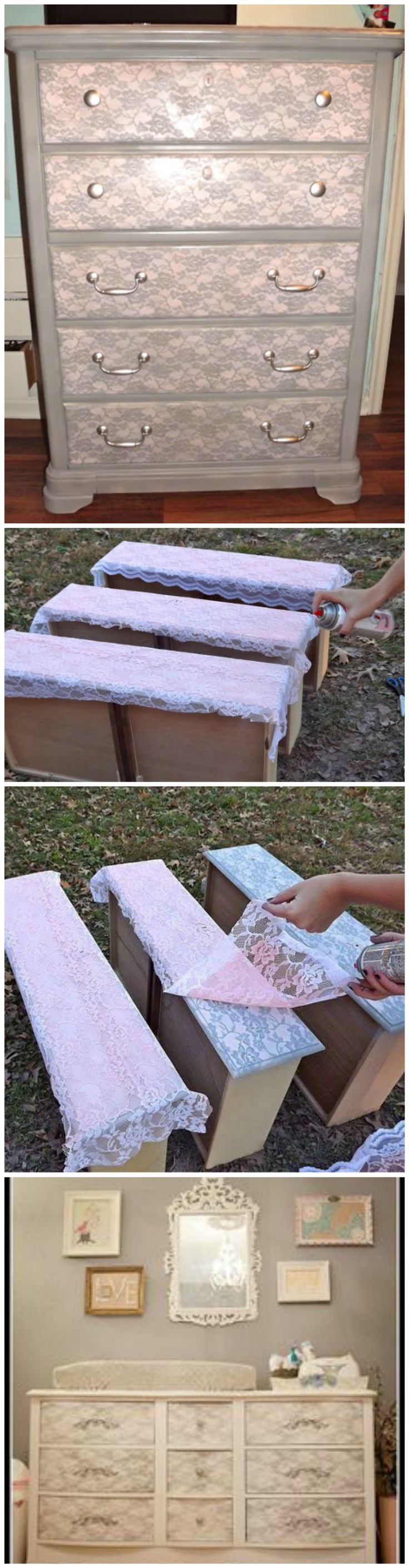 DIY Project: Refinished Dresser Using Lace
