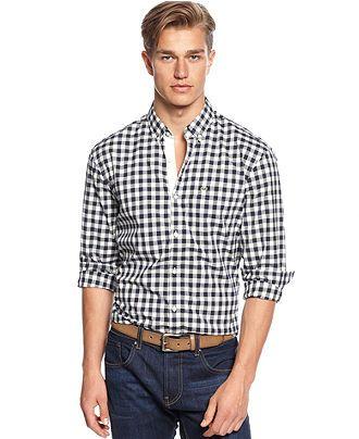 Lacoste Shirt, Long Sleeve Large Gingham Poplin Shirt - Casual Button-Down Shirts - Men - Macy's
